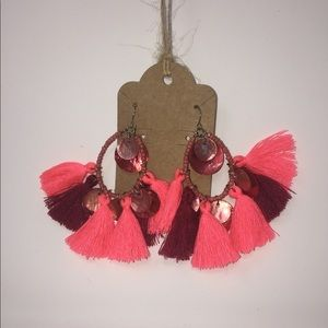 Hot Pink and Burgundy TASSEL Earrings